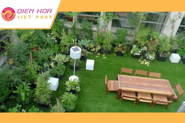 Vườn trên mái cũng là một trong những lựa chọn hoàn hảo đối với căn hộ mini
