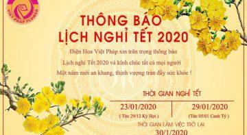 Thông báo lịch nghỉ tết 2020