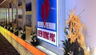 """Tác phẩm bông lúa chín của Điện hoa Việt Pháp trong buổi họp """"Đón dòng dầu khí biển đông"""""""